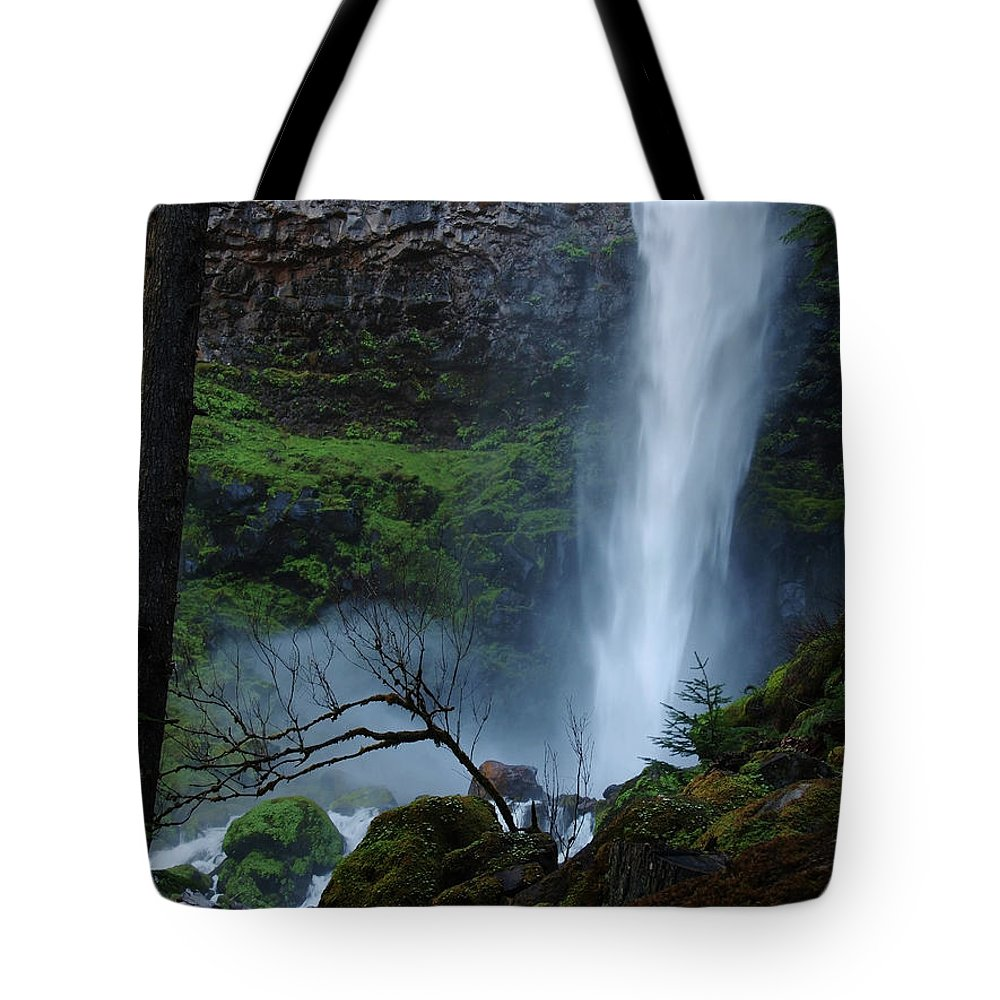 Waterfall Tote Bag featuring the photograph Bottom Of Watson Falls by Teri Schuster