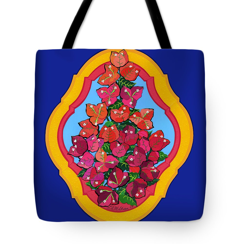 Nature Tote Bag featuring the drawing Bougainvillea by Lucyna A M Green