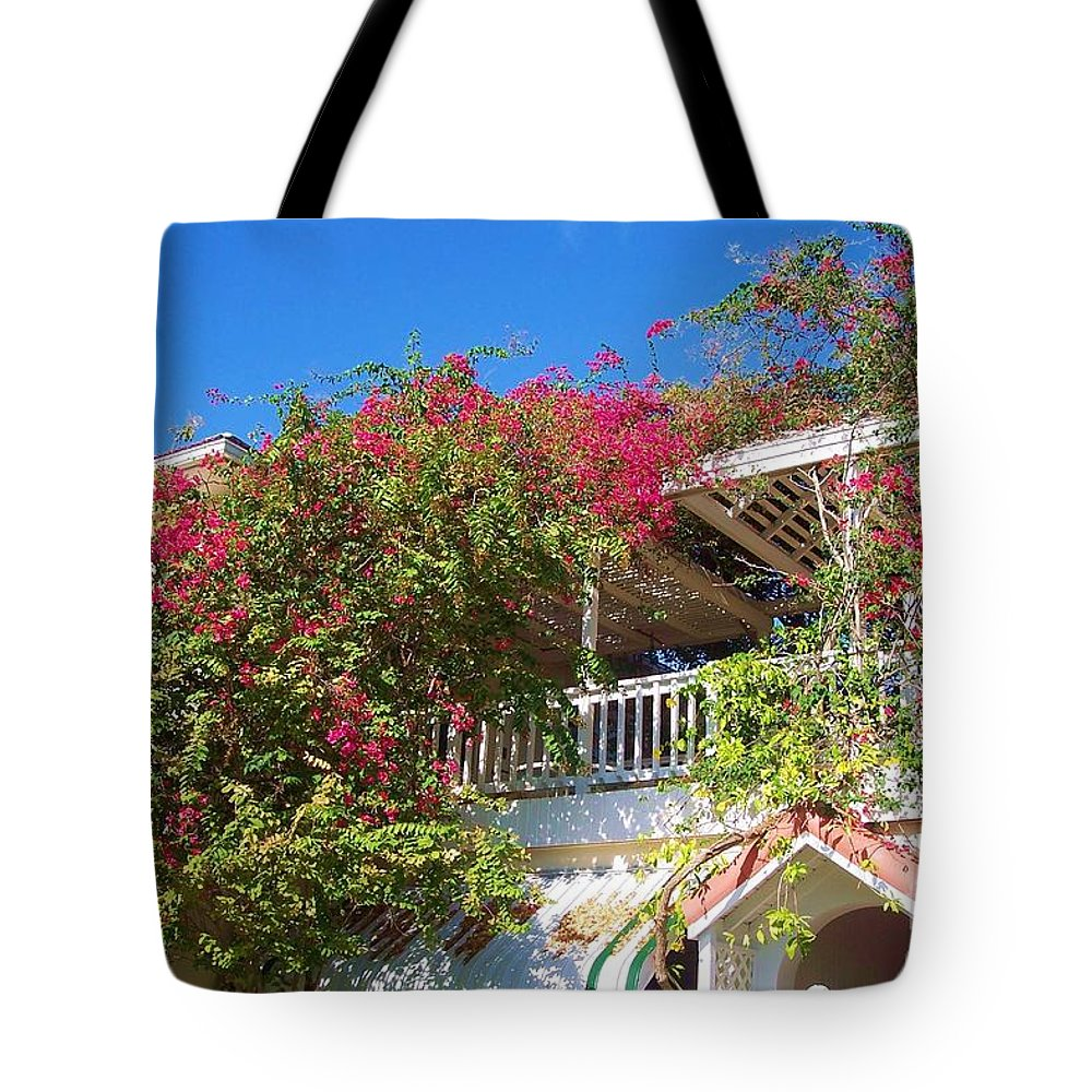Flowers Tote Bag featuring the photograph Bougainvillea Villa by Debbi Granruth
