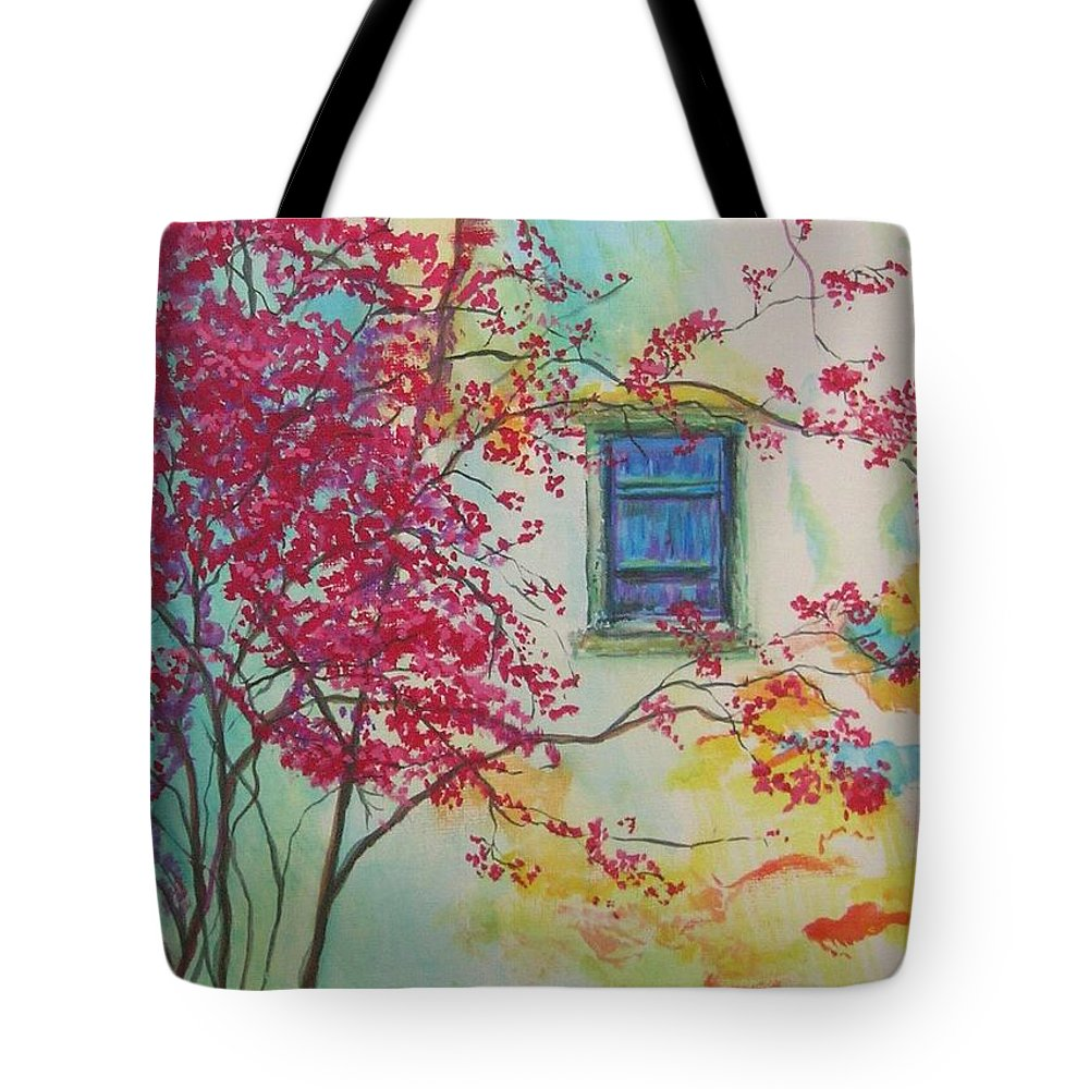 Bouganvilla Tote Bag featuring the painting Bouganvilla And Blue Shutter by Lizzy Forrester