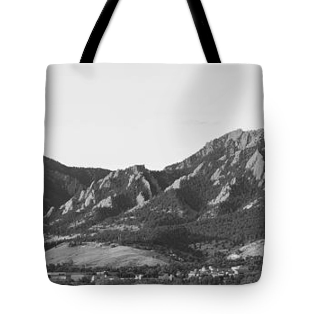 'boulder Photos' Tote Bag featuring the photograph Boulder Colorado Flatirons And Cu Campus Panorama Bw by James BO Insogna