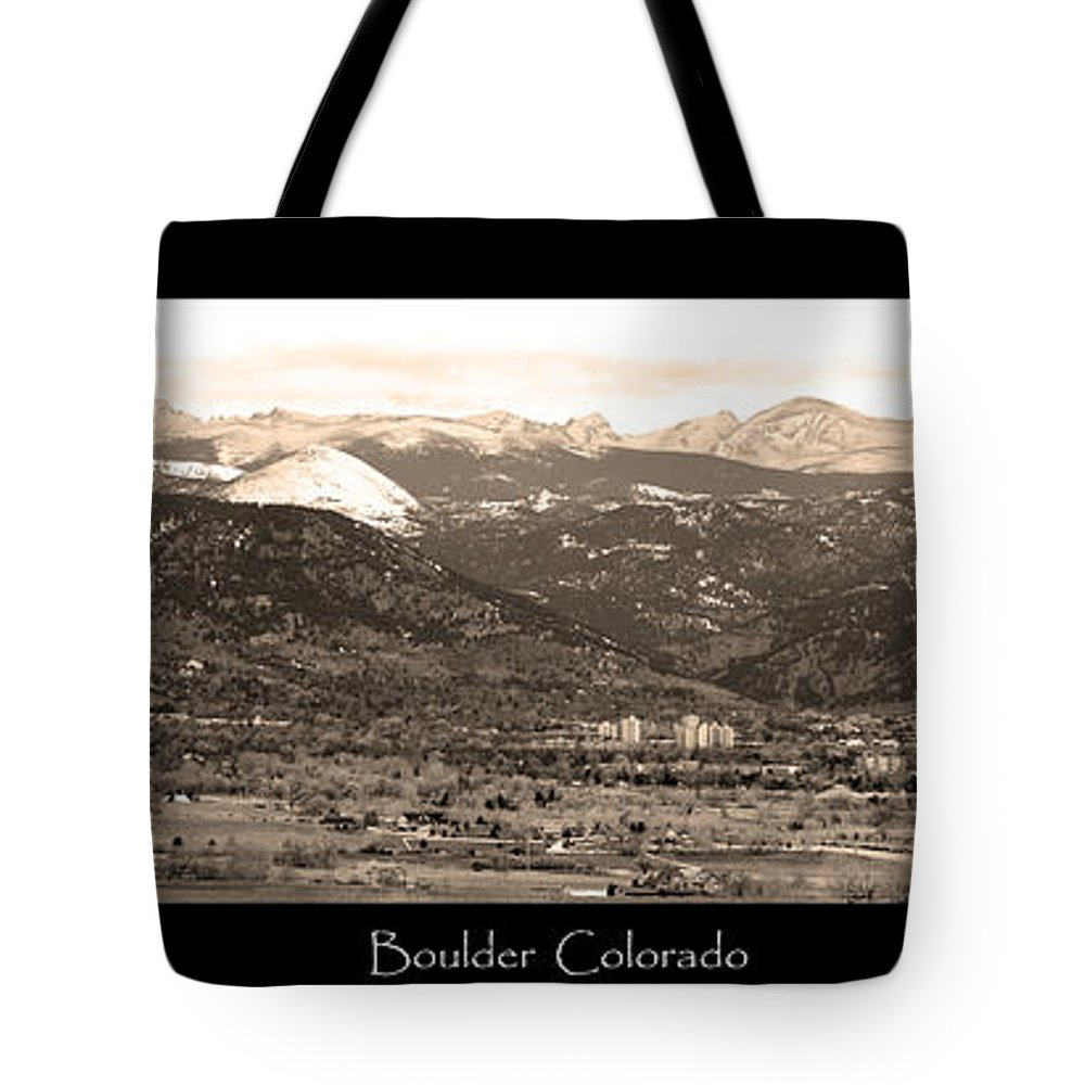Boulder Tote Bag featuring the photograph Boulder Colorado Sepia Panorama Poster Print by James BO Insogna