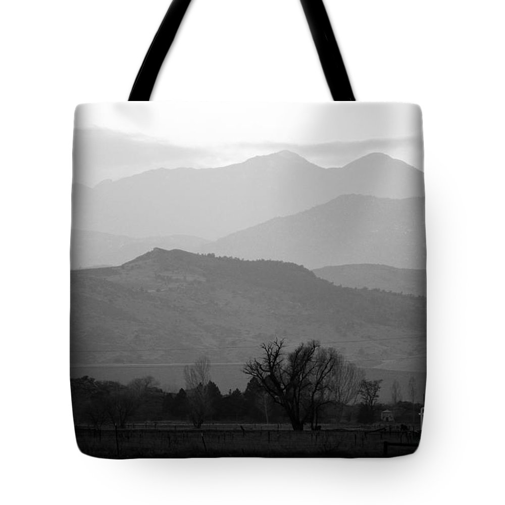 Foothills Tote Bag featuring the photograph Boulder County Foothills To The Rockies Bw by James BO Insogna