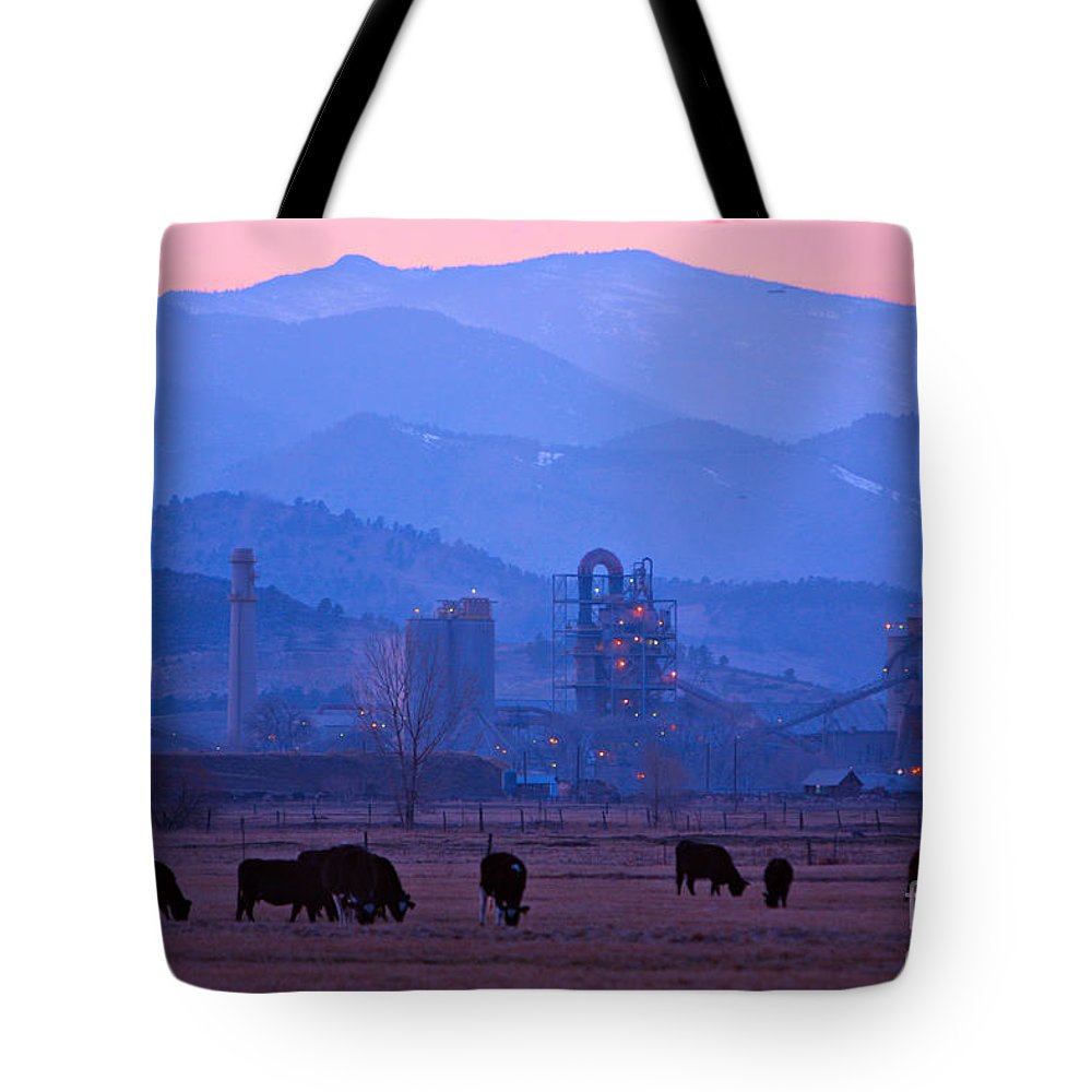 Boulder Tote Bag featuring the photograph Boulder County Industry Meets Country by James BO Insogna