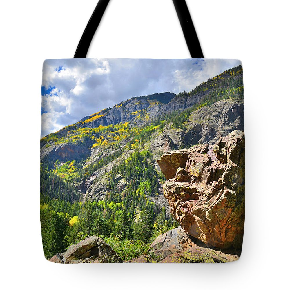Colorado Tote Bag featuring the photograph Boulder In Ouray Canyon by Ray Mathis