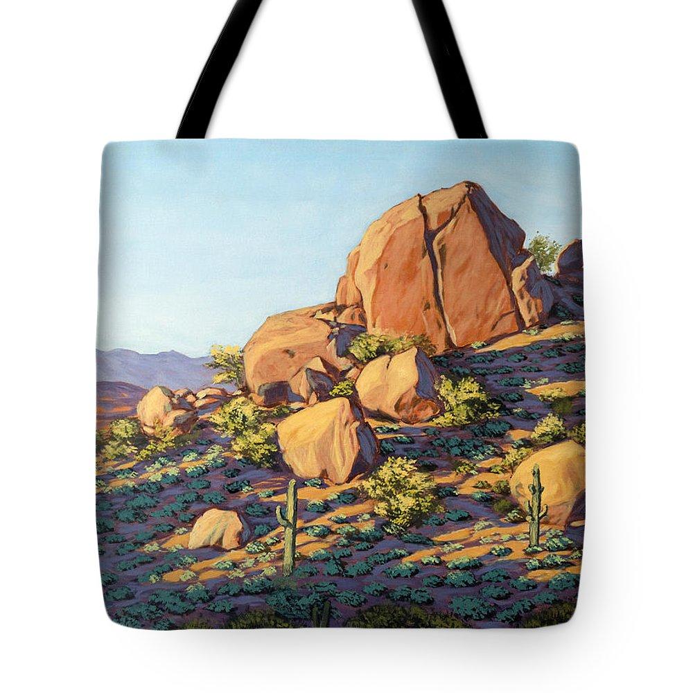 Desert Tote Bag featuring the painting Boulders By Pinnacle Peak Mountain by Jeff Franco