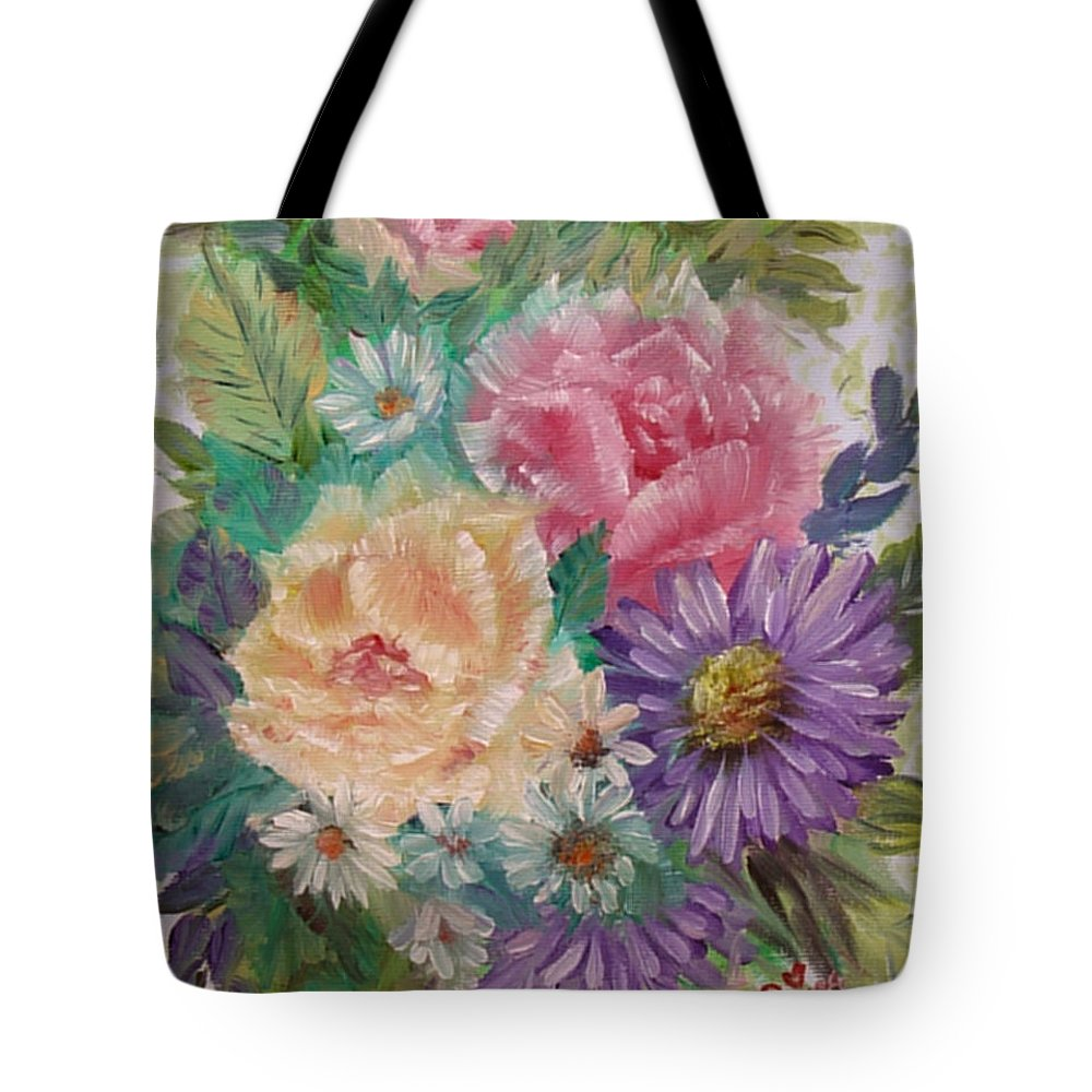 Rose Tote Bag featuring the painting Bouquet 2 by Quwatha Valentine
