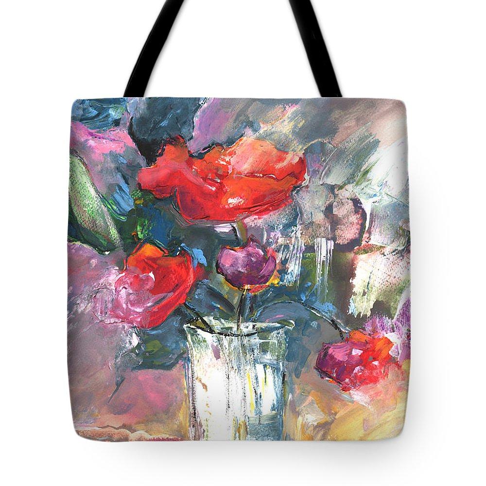 Flowers Tote Bag featuring the painting Bouquet De Chez Moi 01 by Miki De Goodaboom