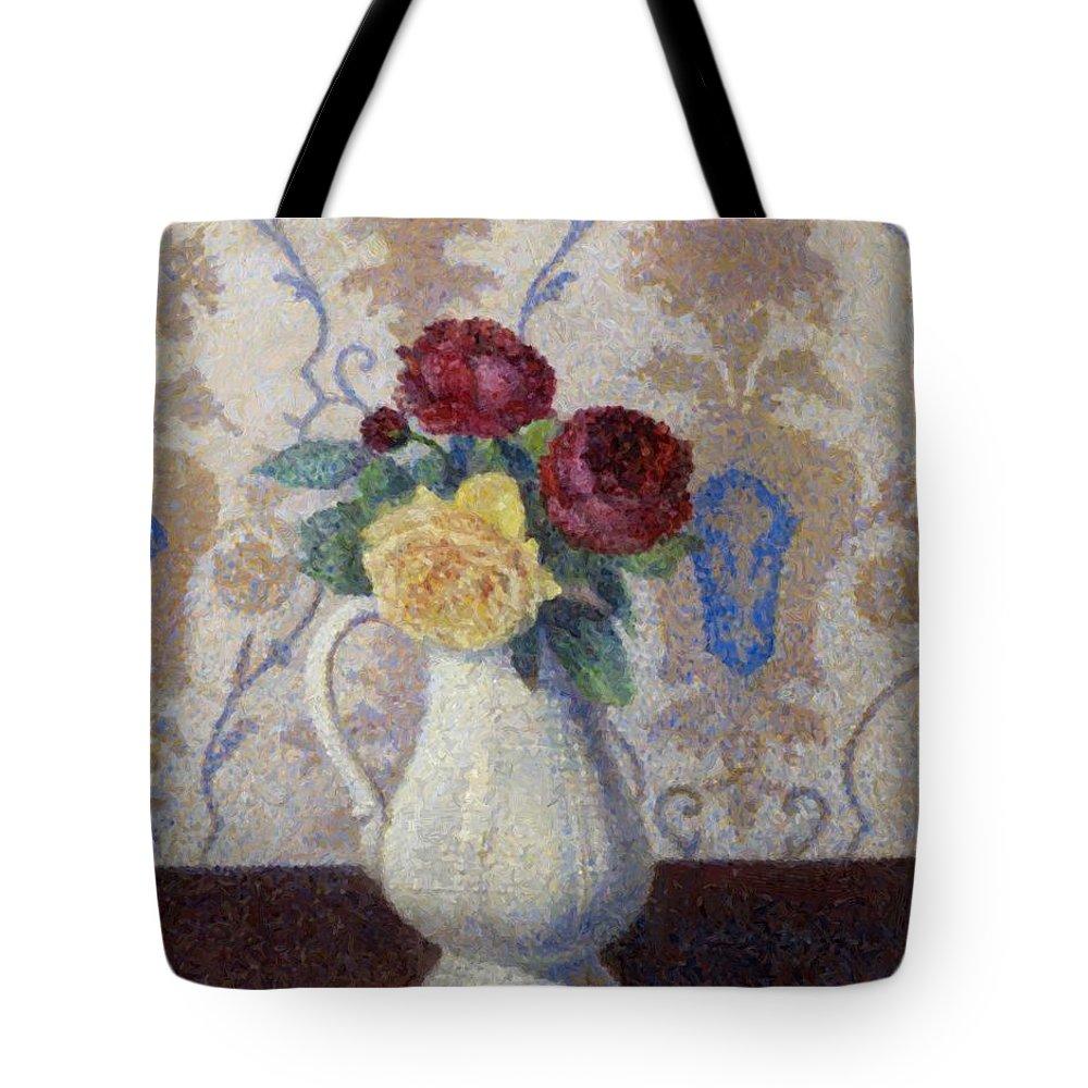 Bouquet Tote Bag featuring the painting Bouquet De Roses Dans Un Vase 1885 by DuboisPillet Albert
