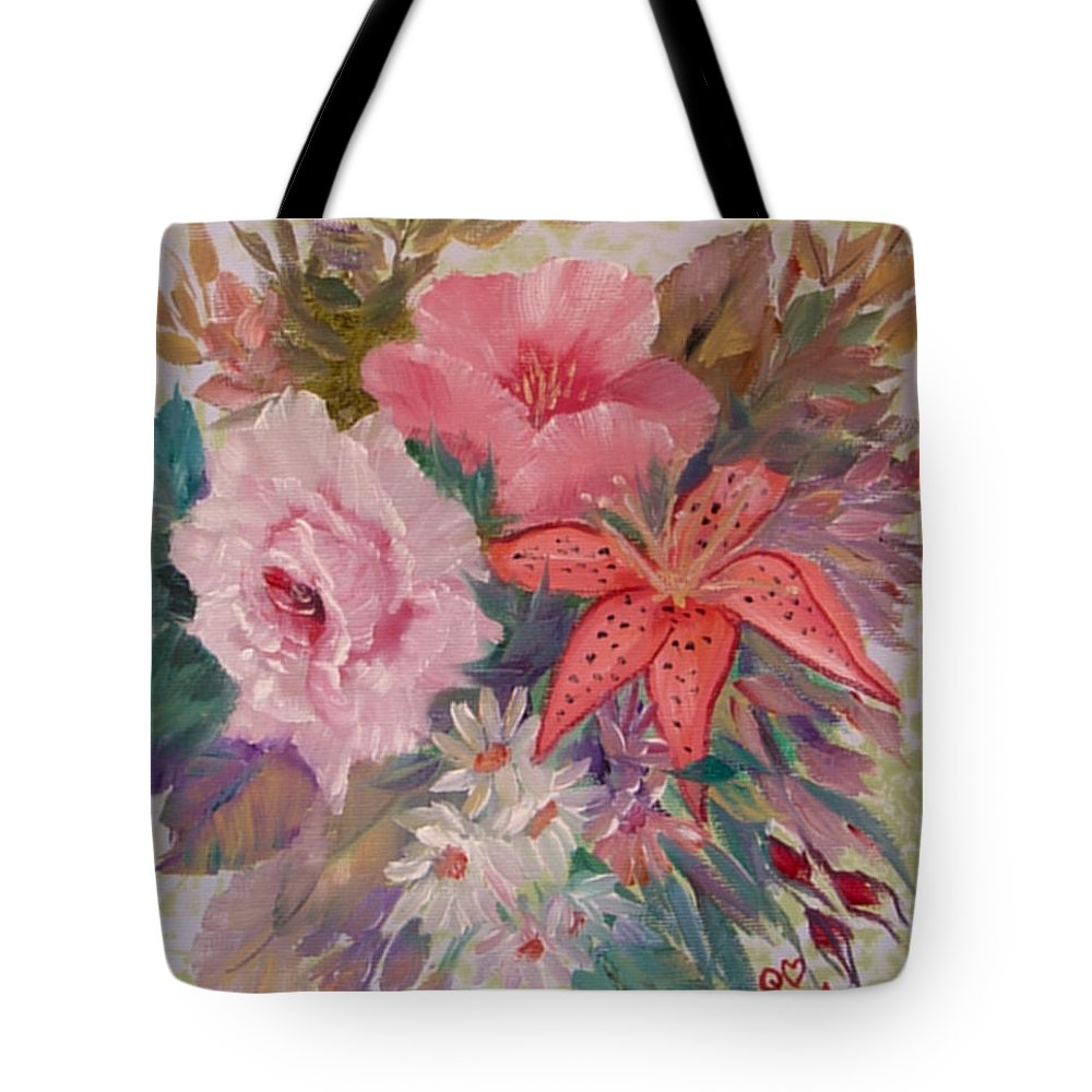 Rose Tote Bag featuring the painting Bouquet by Quwatha Valentine