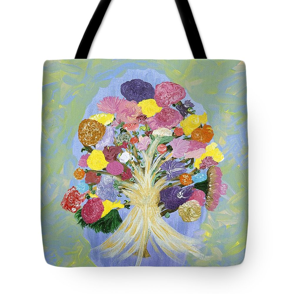 Flowers Tote Bag featuring the painting Bouquet Today by Sara Credito