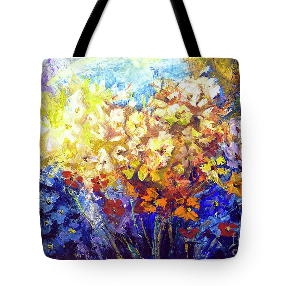 Bouquet Tote Bag featuring the painting Bouquet by Yana Sadykova