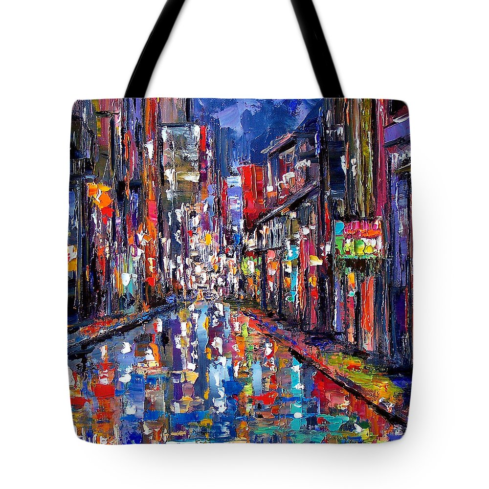 New Orleans Tote Bag featuring the painting Bourbon Street by Debra Hurd