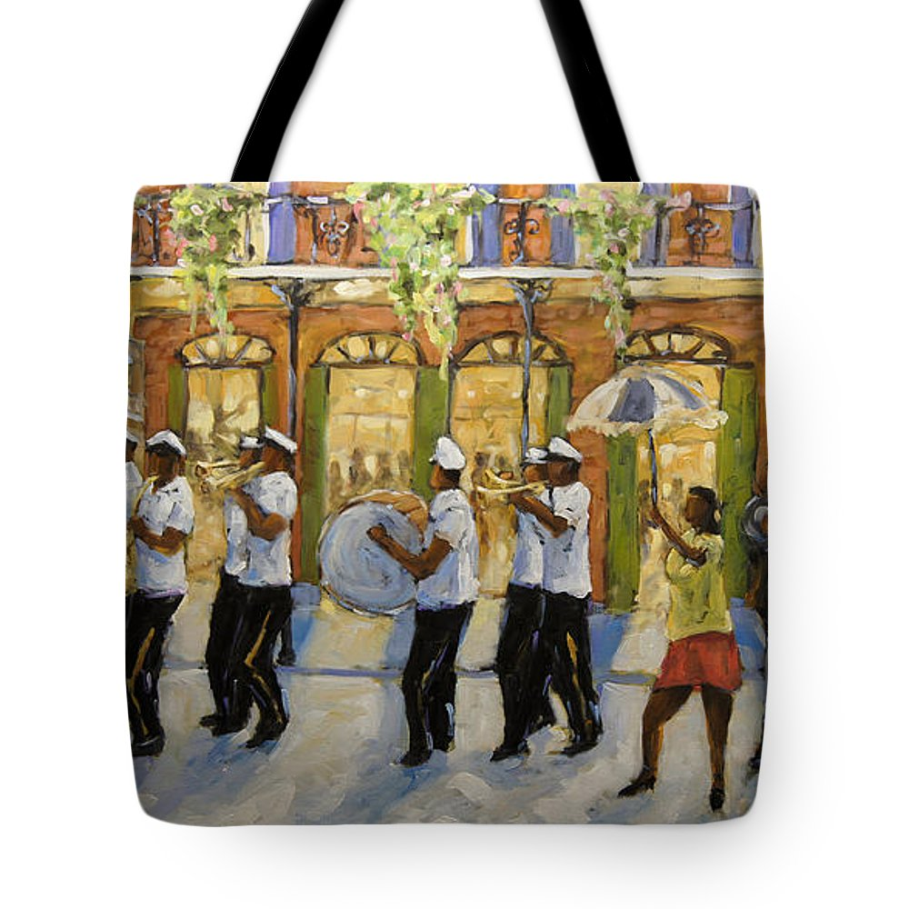 Second Line (parades) Tote Bag featuring the painting Bourbon Street Second Line New Orleans by Richard T Pranke