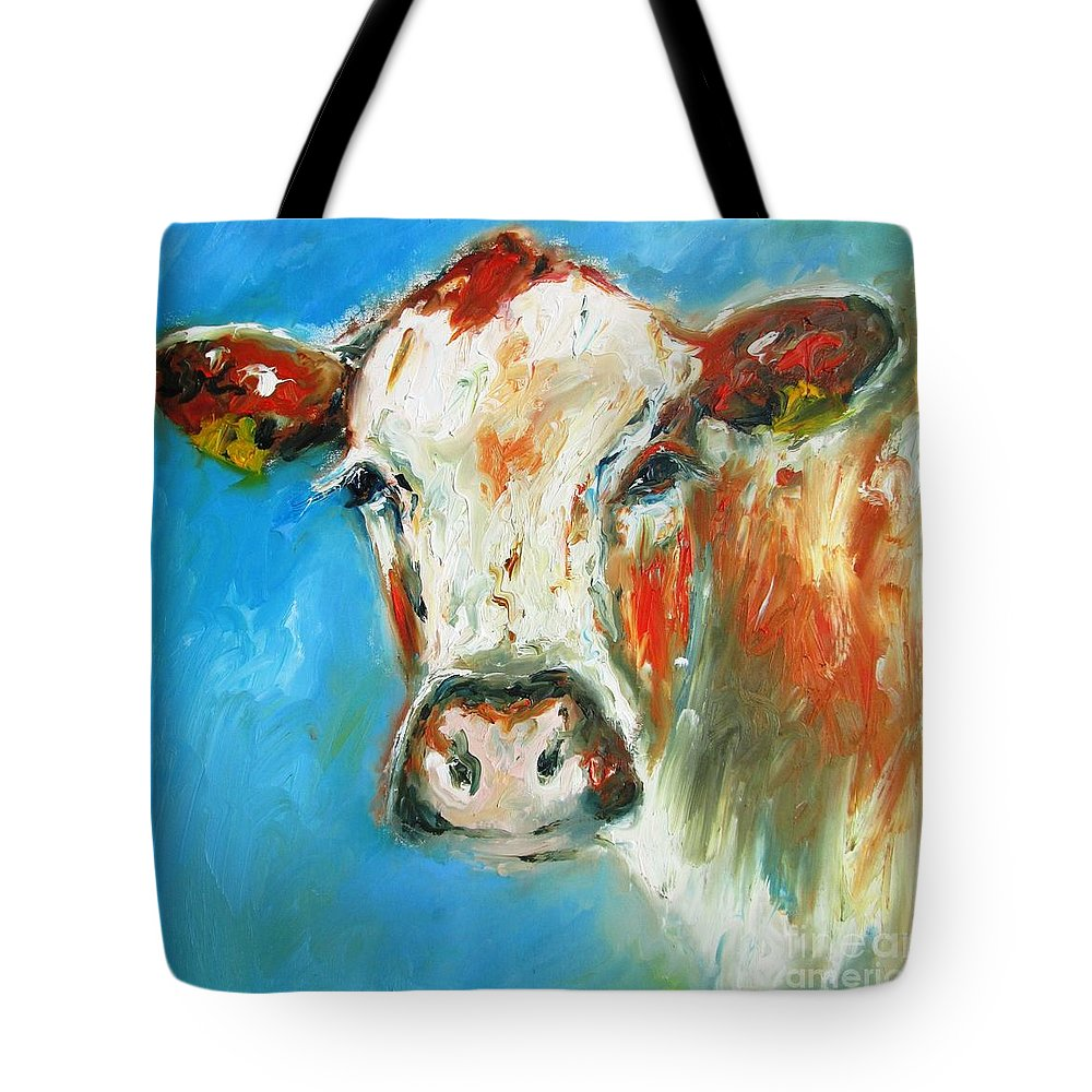 Cow Tote Bag featuring the painting Bovine On Blue by Mary Cahalan Lee- aka PIXI