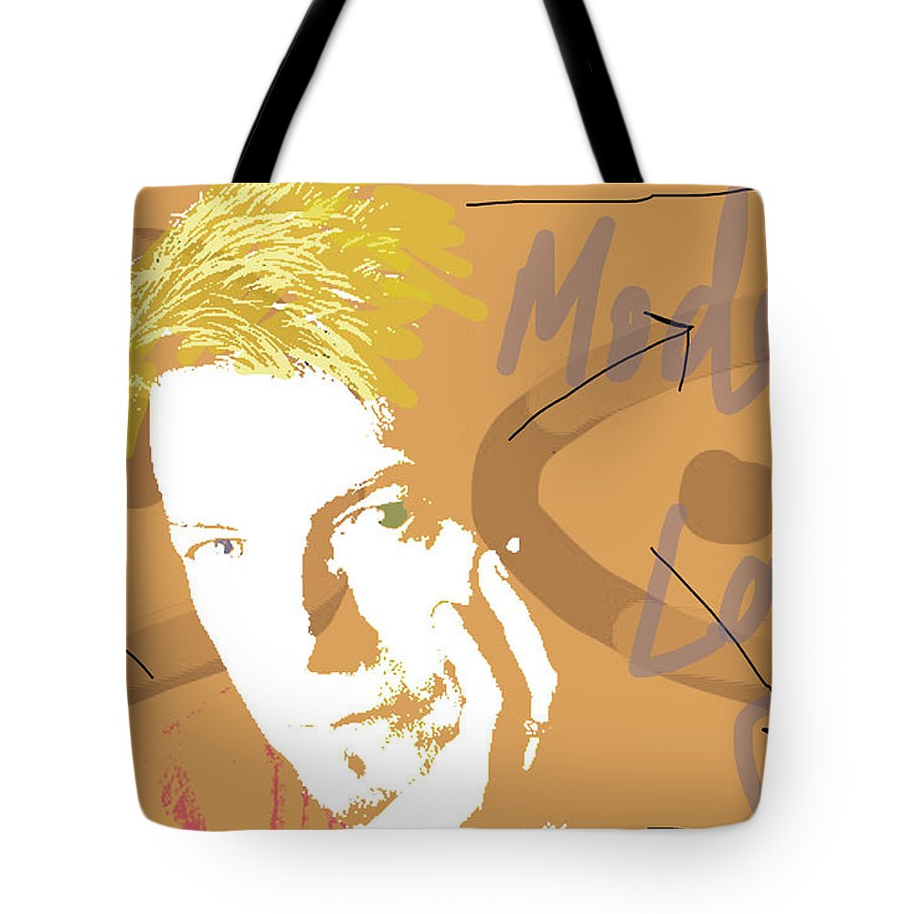 David Bowie Tote Bag featuring the mixed media Bowie Modern Love by Enki Art
