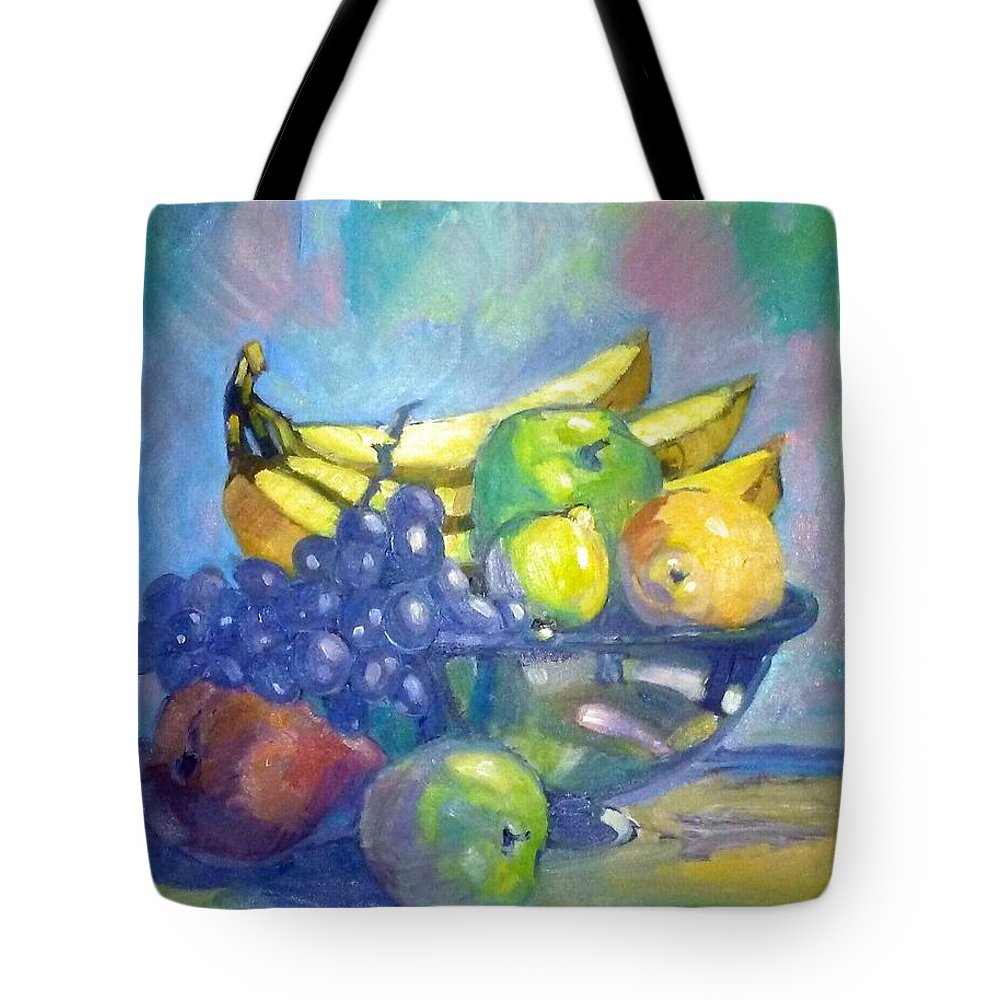 Painting Tote Bag featuring the painting Bowl Of Fresh Fruit by Jonathan Carter
