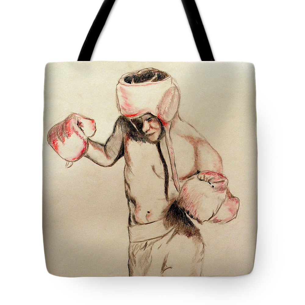 Male Tote Bag featuring the drawing Boxer by Lori Moon