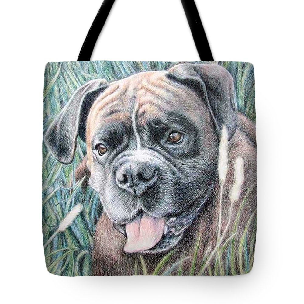 Dog Tote Bag featuring the drawing Boxer Yosi by Nicole Zeug