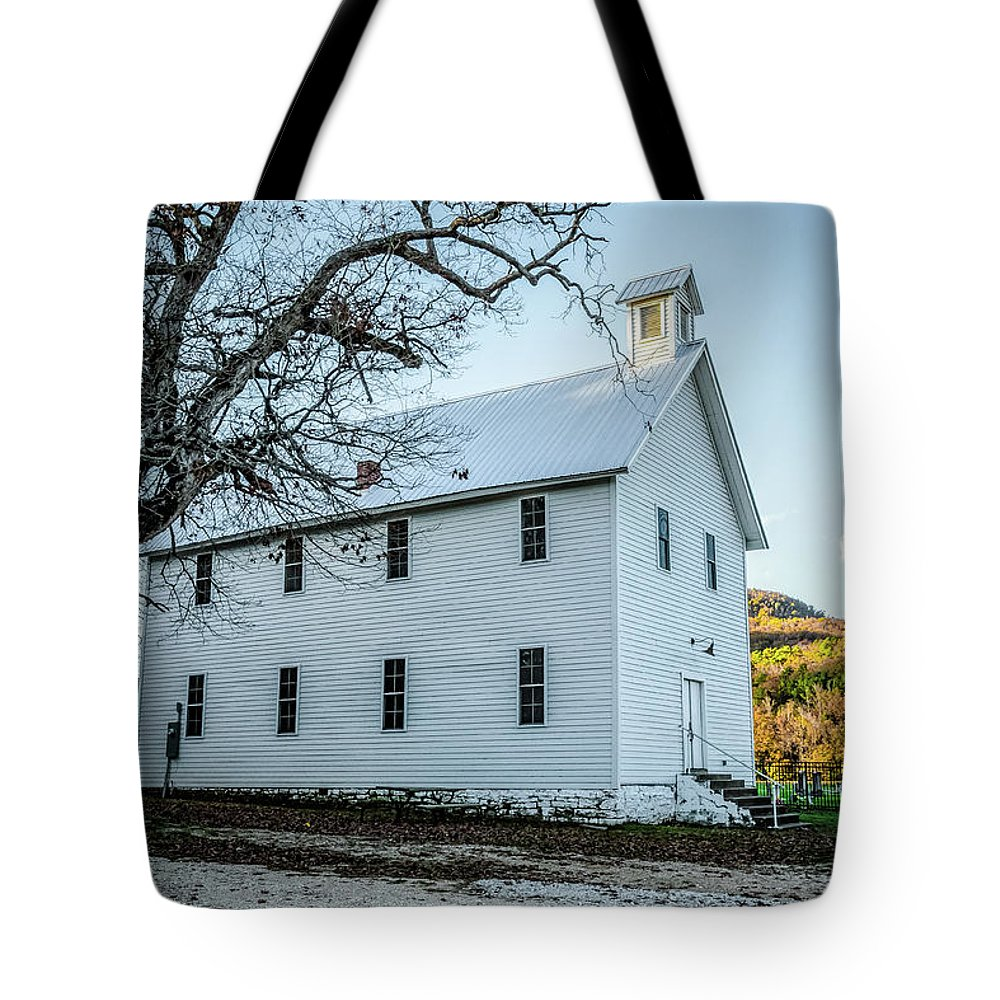 Historic Tote Bag featuring the photograph Boxley Community Center by Patricia Cale