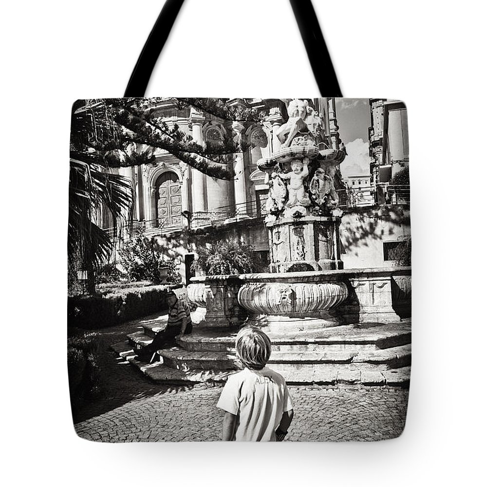 Boy Tote Bag featuring the photograph Boy At Statue In Sicily by Madeline Ellis