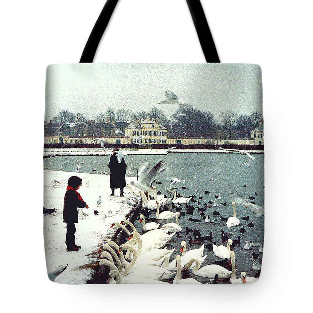 Swans Tote Bag featuring the photograph Boy Feeding Swans- Germany by Nancy Mueller