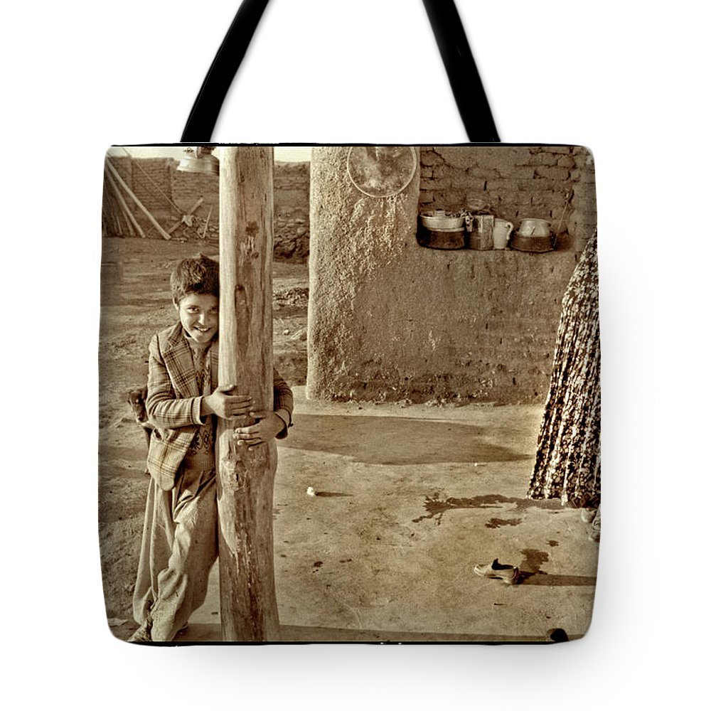 Iran Tote Bag featuring the photograph Boy In Plaid Jacket, Iran by Michael Ziegler