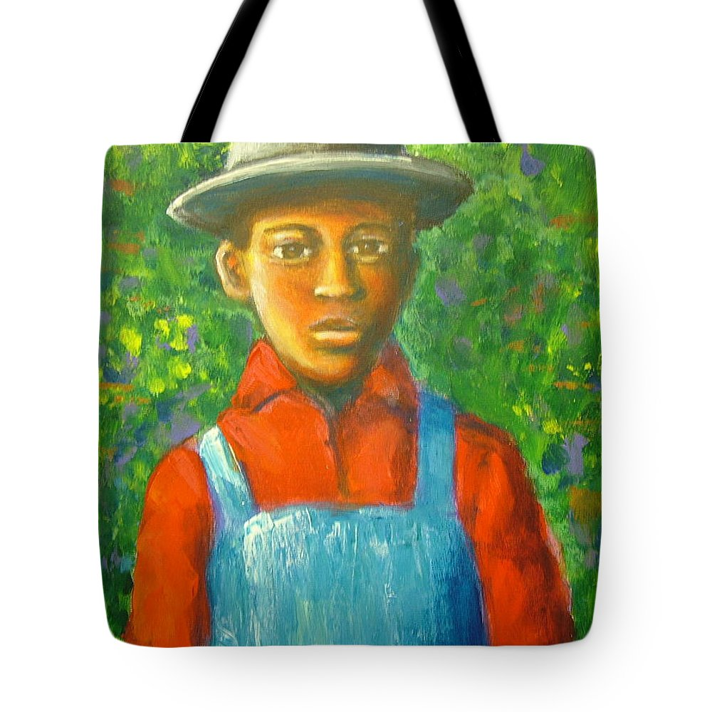 Painting Tote Bag featuring the painting 'boy In The Woods' by Jan Gilmore
