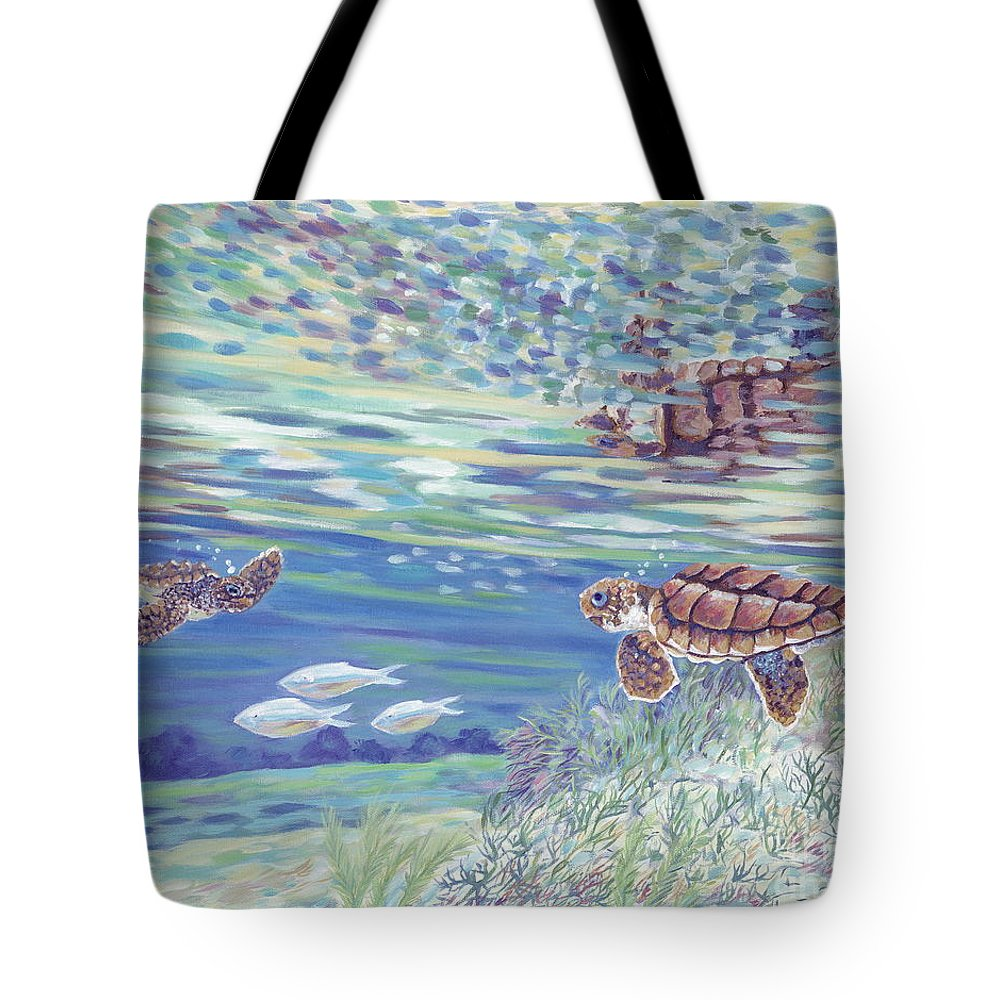 Ocean Tote Bag featuring the painting Boy Meets Girl by Danielle Perry