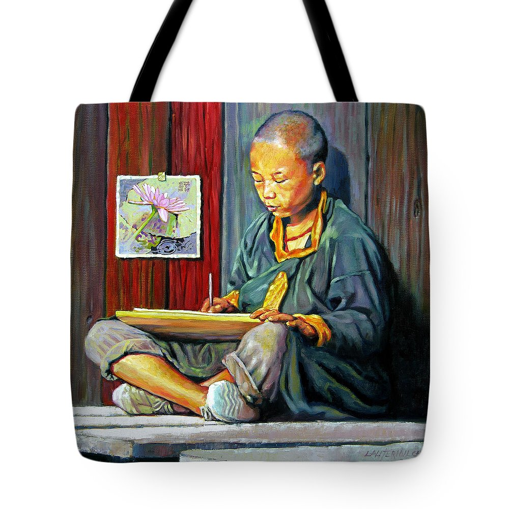 Chinese Boy Tote Bag featuring the painting Boy Painting Lilies by John Lautermilch