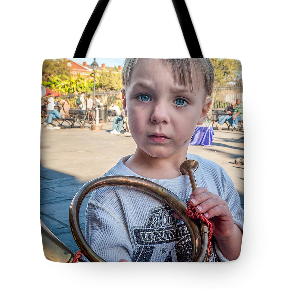 Boy Tote Bag featuring the photograph Boy With A Horn _ Nola by Kathleen K Parker
