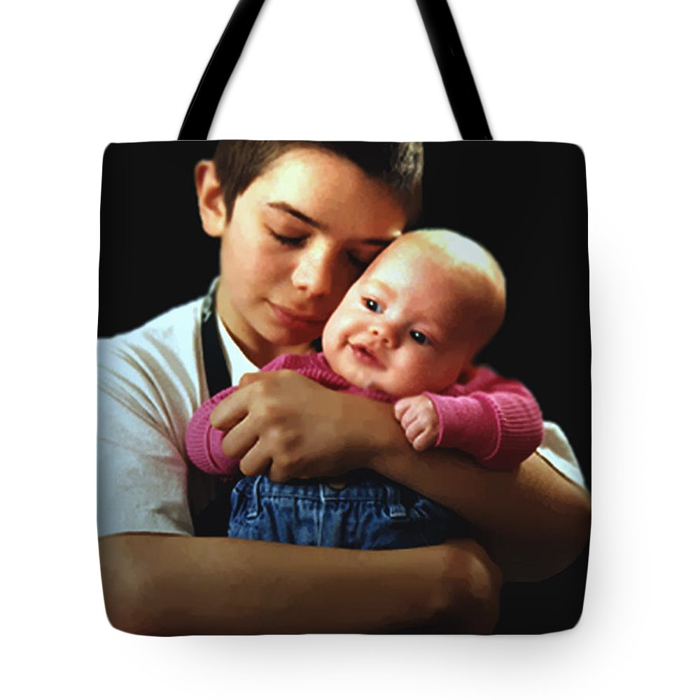 Children Tote Bag featuring the photograph Boy With Bald-headed Baby by RC deWinter