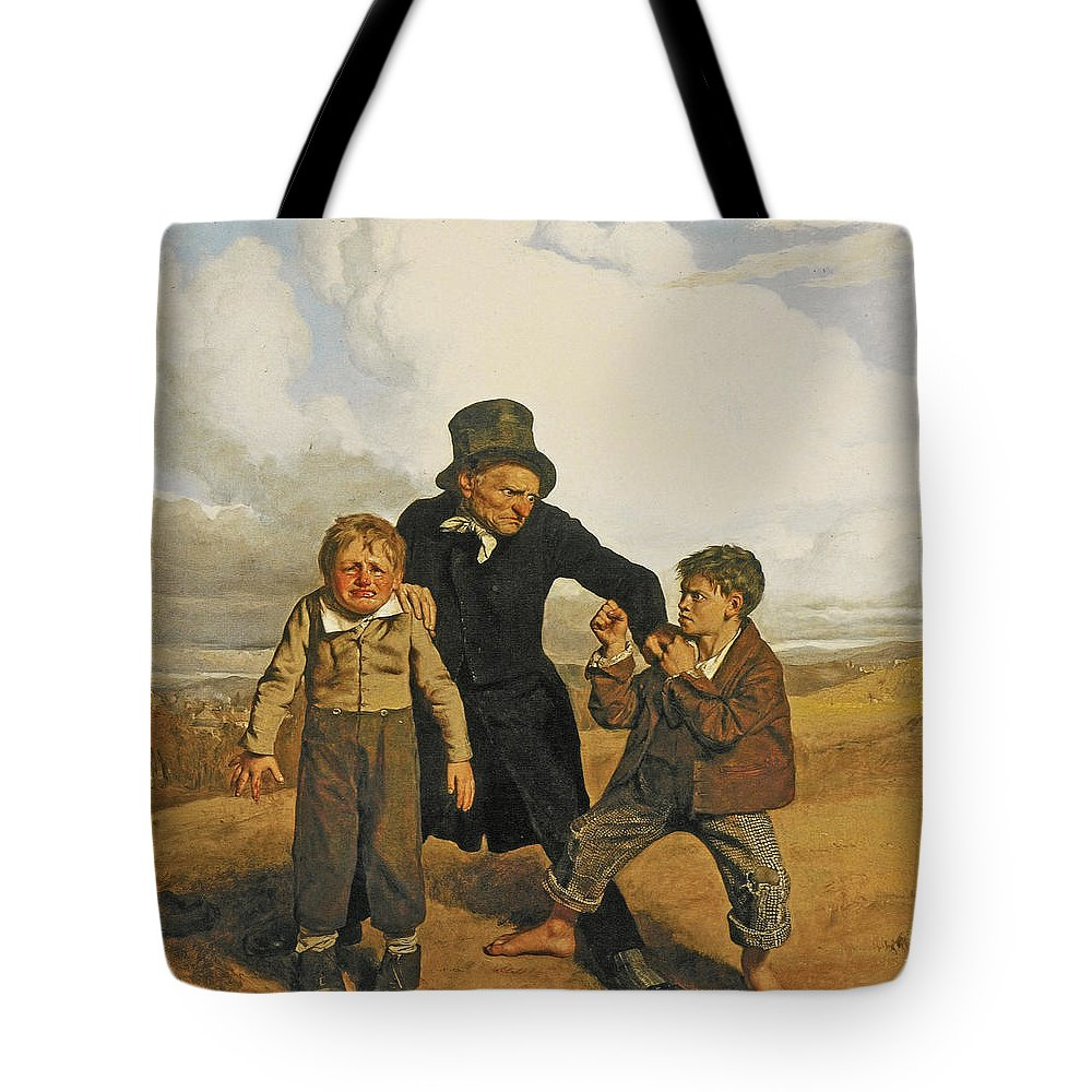 John Faed Tote Bag featuring the painting Boyhood by John Faed