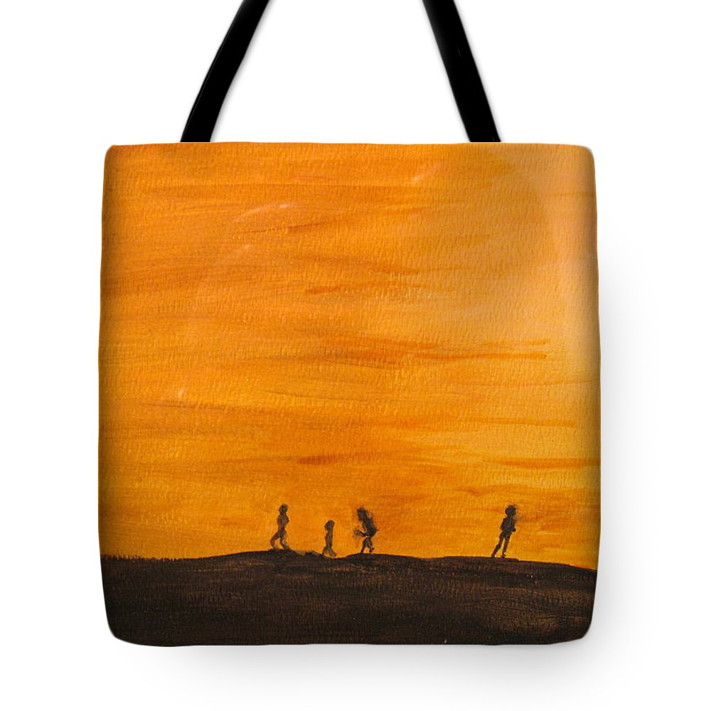 Boys Tote Bag featuring the painting Boys At Sunset by Ian MacDonald