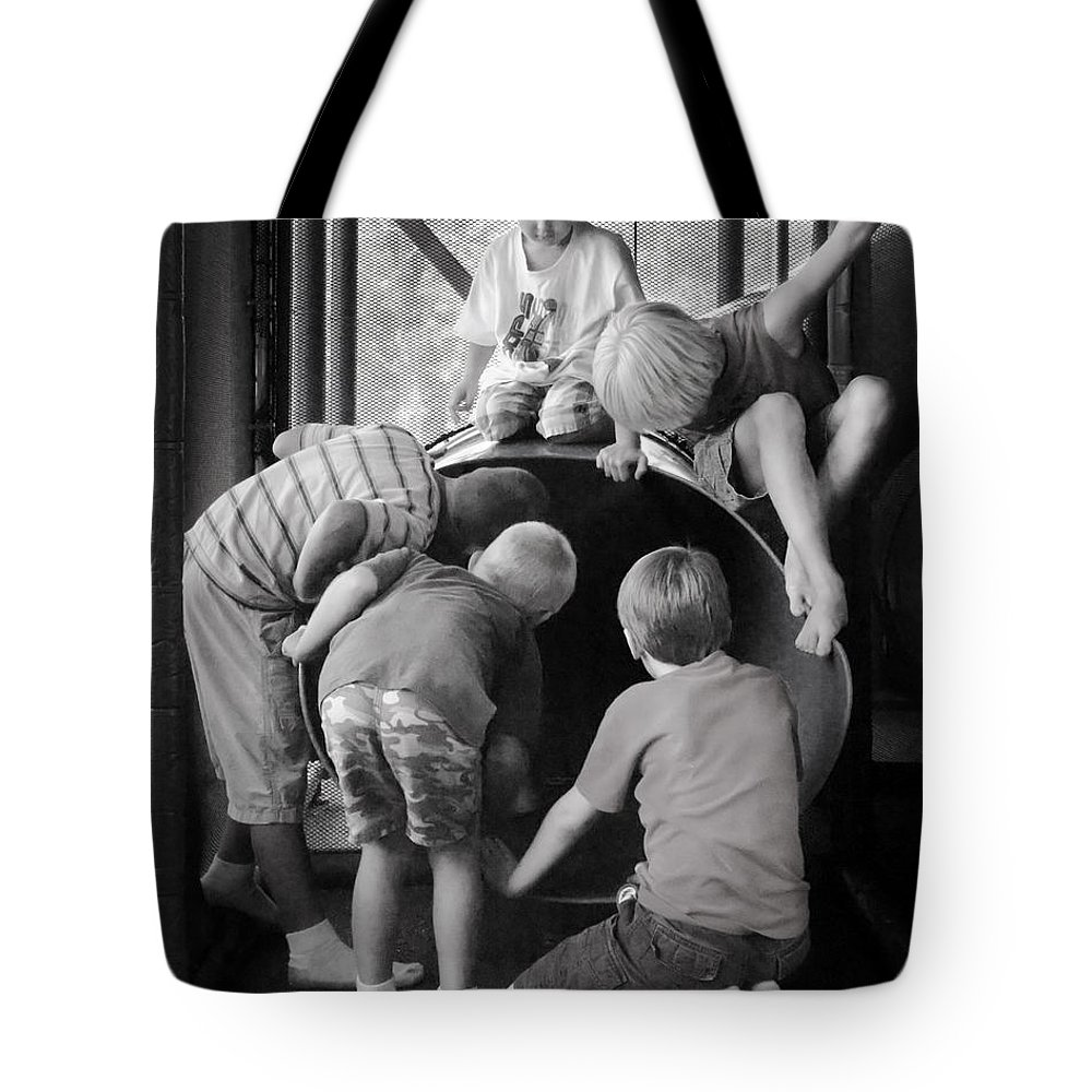 Boys Tote Bag featuring the photograph Boys by Francesa Miller