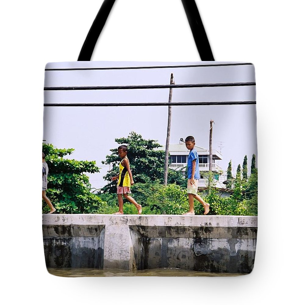 Children Tote Bag featuring the photograph Boys In Bangkok by Mary Rogers