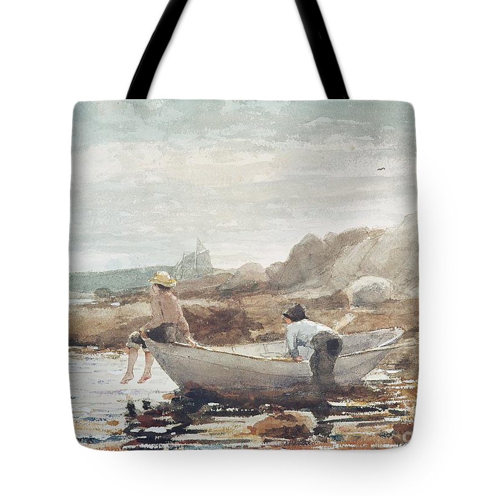 Boys On The Beach (w/c On Paper) By Winslow Homer (1836-1910) Rowing Boat; Fishing; Boy; Male; Children; Child; Playing; Summer; Coast; Coastal; Rocks; Rocky; Boat Tote Bag featuring the painting Boys on the Beach by Winslow Homer