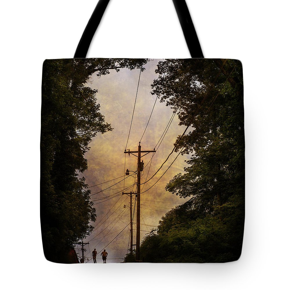 Youth Tote Bag featuring the photograph Boys On The Hill by William Schmid