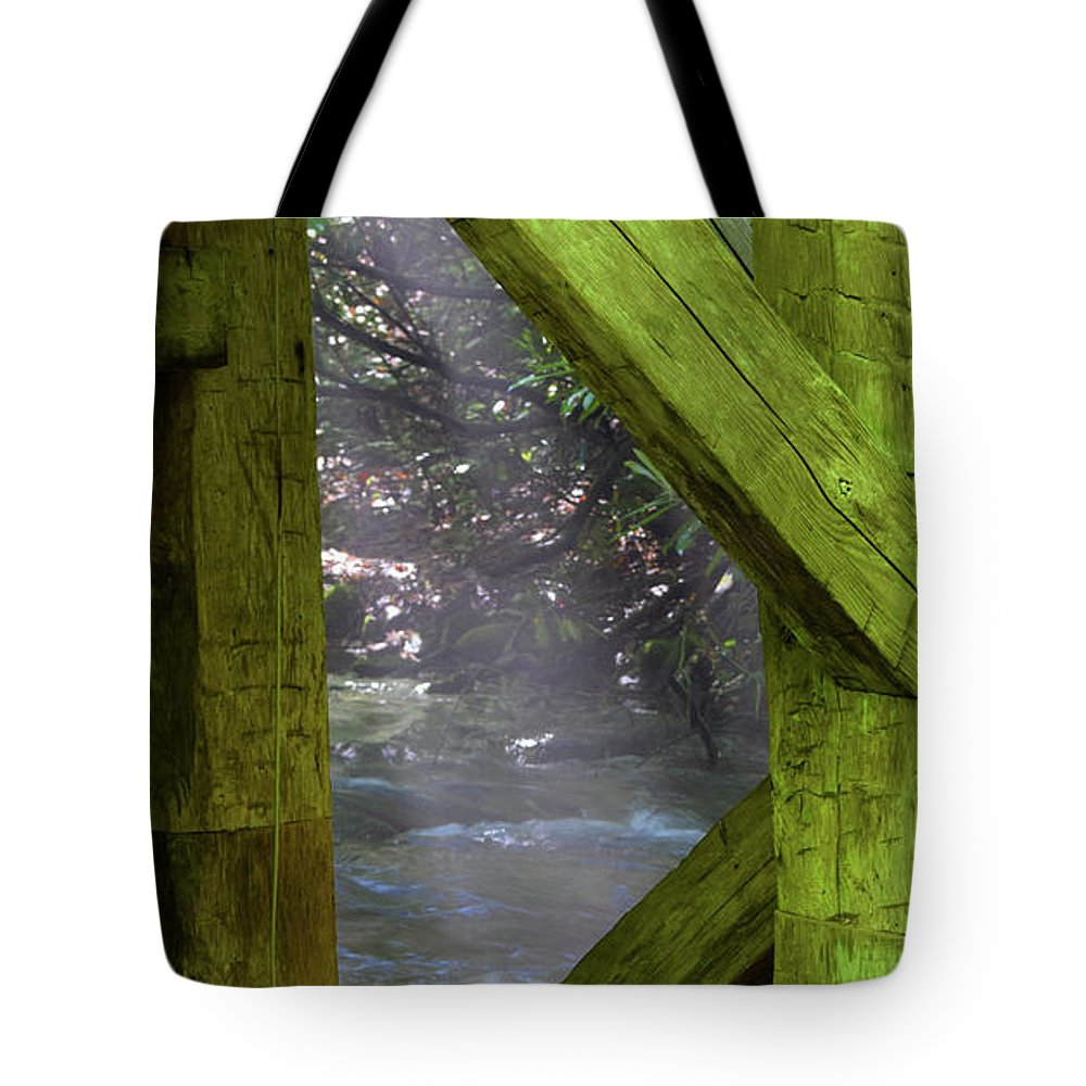 Mingus Tote Bag featuring the photograph Braced With Moss by Pat Turner