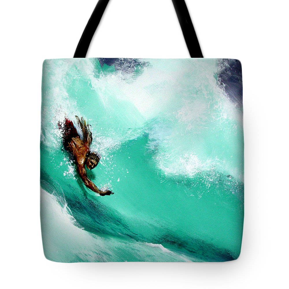 Body Surfer Tote Bag featuring the painting Brad Miller in Makaha Shorebreak by Paul Miller