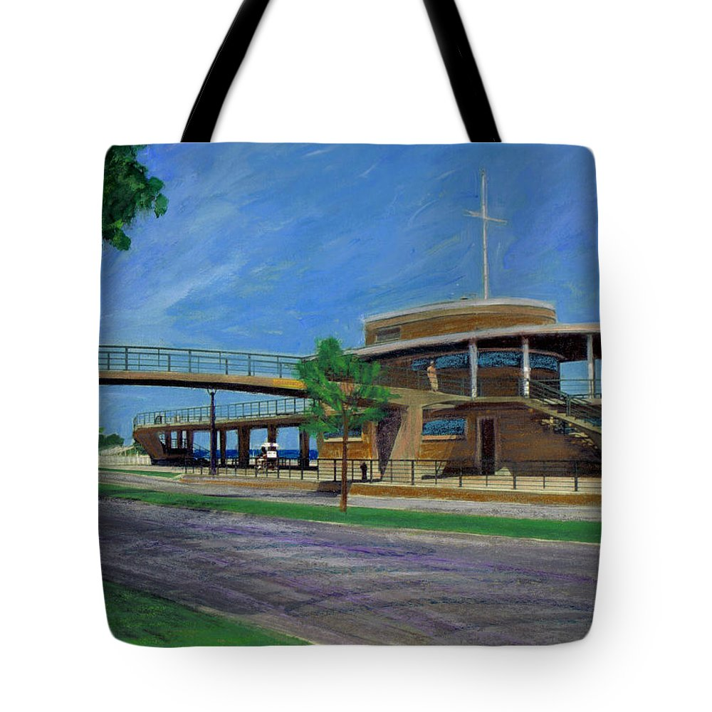 Miexed Media Tote Bag featuring the mixed media Bradford Beach House by Anita Burgermeister