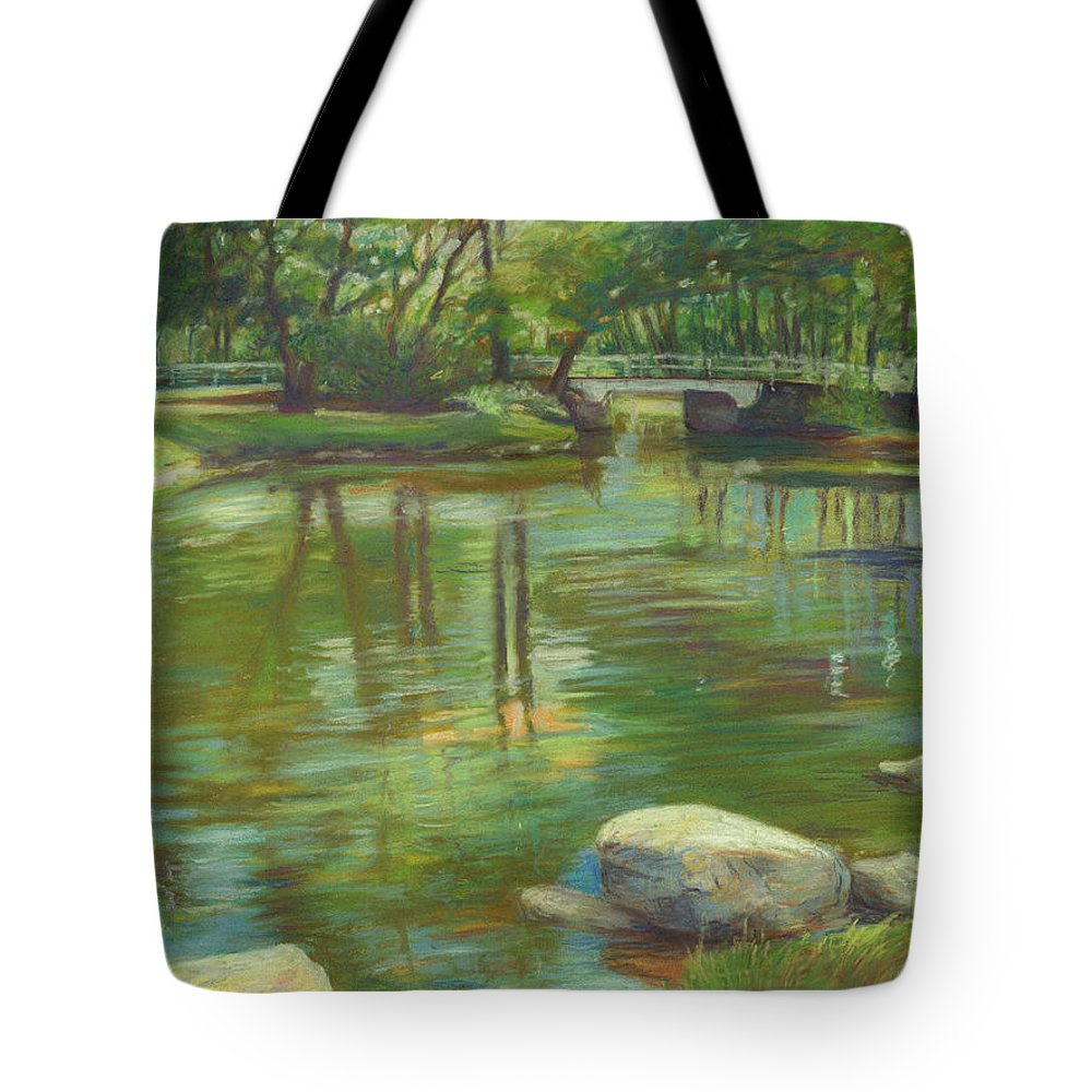 Mcgrath Tote Bag featuring the painting Bradford Ma College Pond by Leslie Alfred McGrath