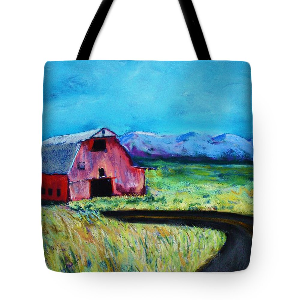Barn Tote Bag featuring the pastel Bradley's Barn by Melinda Etzold