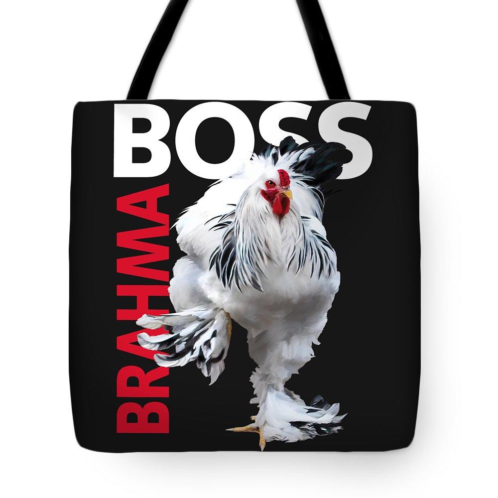 Light Brahma Tote Bag featuring the digital art Brahma Boss II T-shirt Print by Sigrid Van Dort