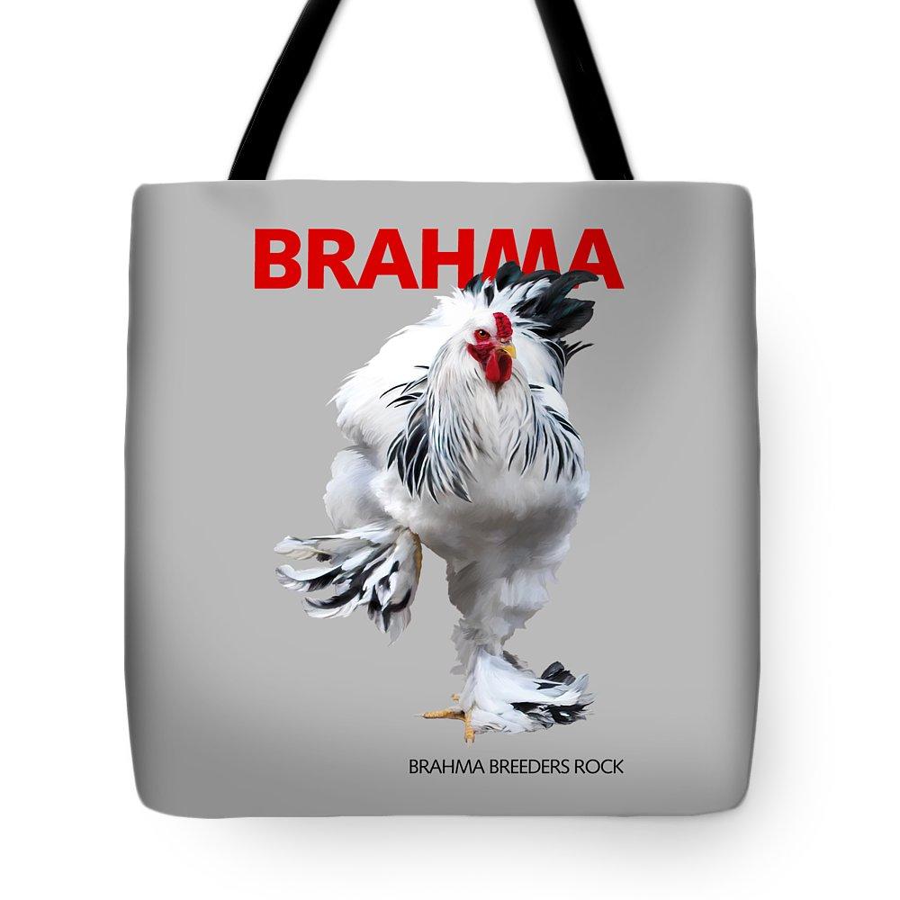 Brahma Tote Bag featuring the digital art Brahma Breeders Rock Red by Sigrid Van Dort