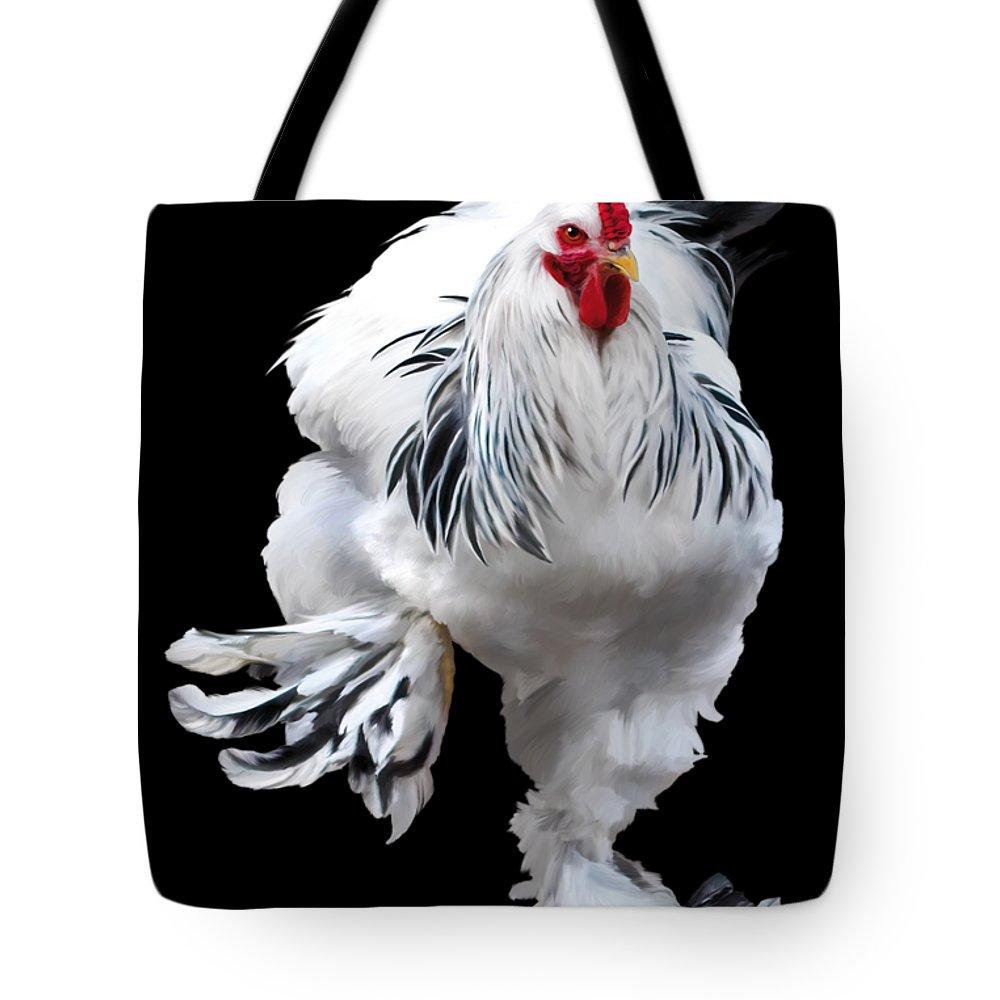 Brahma Tote Bag featuring the digital art Brahma Breeders Rock T-shirt Print by Sigrid Van Dort