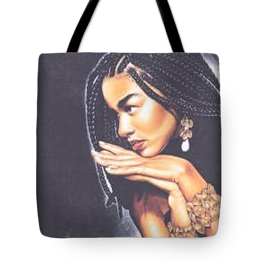 Woman W/folded Hands Tote Bag featuring the drawing Braided Beauty by Charlene Cooper