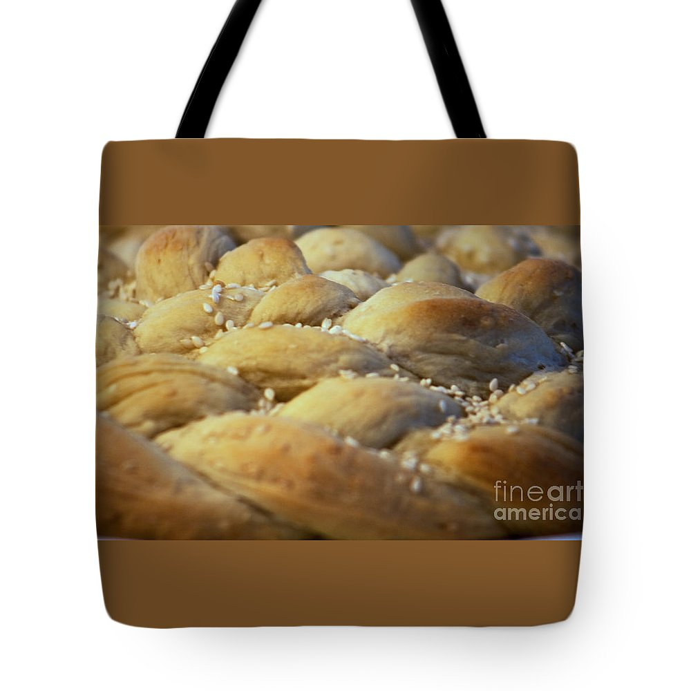 Kitchen Tote Bag featuring the photograph Braided Bread by Robin Lynne Schwind
