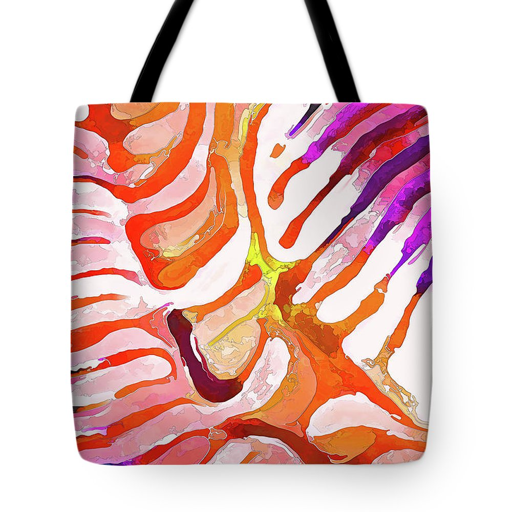 Nature Tote Bag featuring the digital art Brain Coral Abstract 6 In Orange by ABeautifulSky Photography by Bill Caldwell