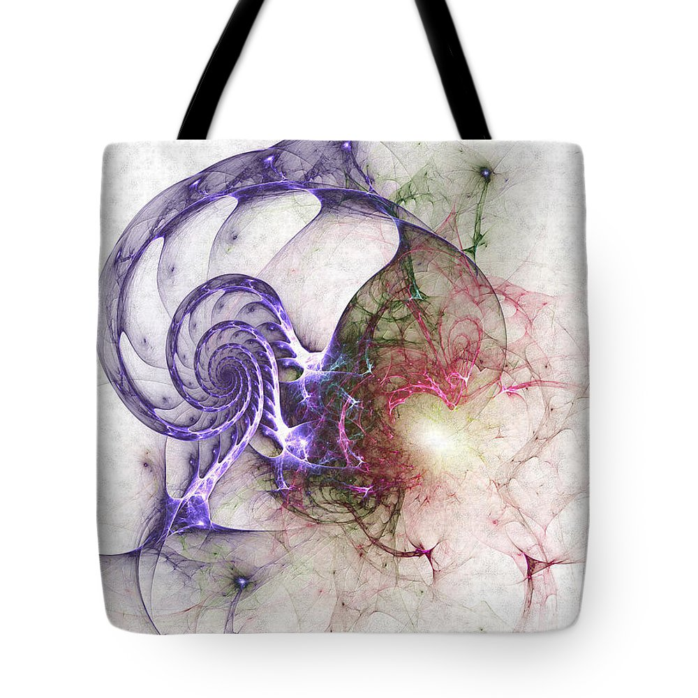 Abstract Tote Bag featuring the digital art Brain Damage by Casey Kotas